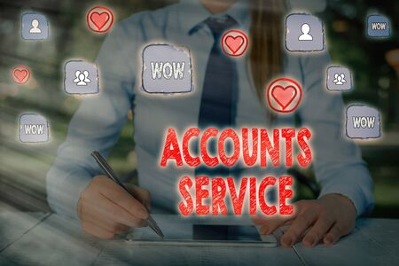 Writing note showing Accounts Service. Business concept for accessing list of user profiles and information linked
