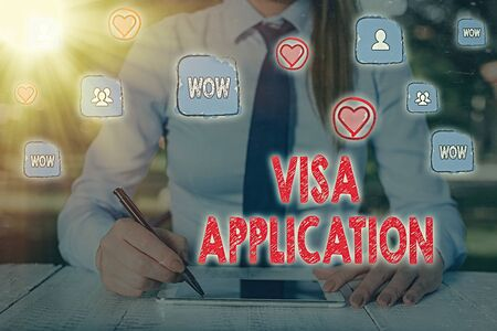Writing note showing Visa Application. Business concept for Form to ask permission travel or live in another country