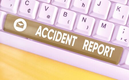 Word writing text Accident Report. Business photo showcasing A form that is filled out record details of an unusual event Stock Photo