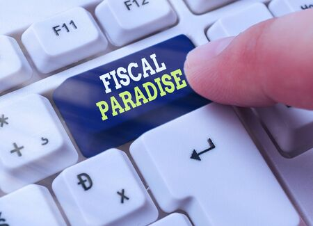 Text sign showing Fiscal Paradise. Business photo showcasing The waste of public money is a great concern topic