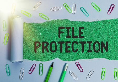 Writing note showing File Protection. Business concept for Preventing accidental erasing of data using storage medium Standard-Bild