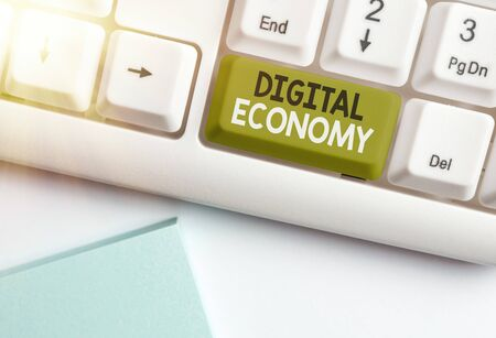 Text sign showing Digital Economy. Business photo text worldwide network of economic activities and technologies