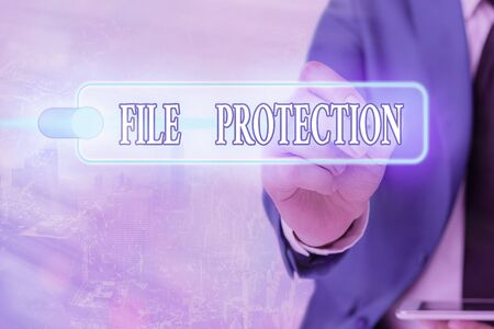 Writing note showing File Protection. Business concept for Preventing accidental erasing of data using storage medium