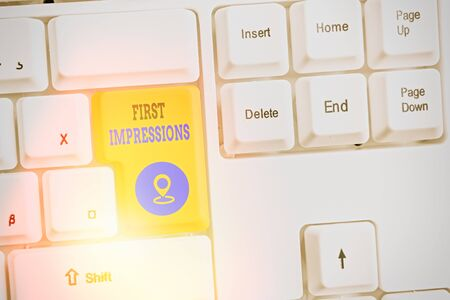 Text sign showing First Impressions. Business photo text What an individual thinks of you when they first meet you