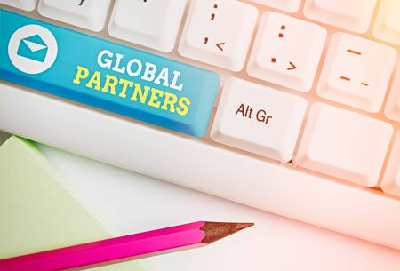 Handwriting text Global Partners. Conceptual photo Two or more firms from different countries work as a team