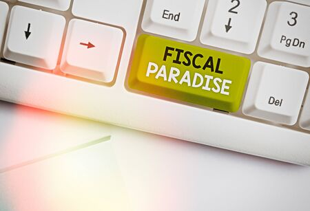 Text sign showing Fiscal Paradise. Business photo text The waste of public money is a great concern topic Standard-Bild