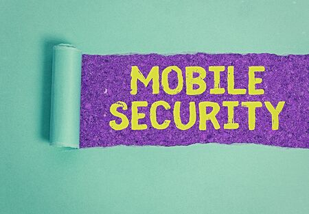 Text sign showing Mobile Security. Business photo showcasing Protection of mobile phone from threats and vulnerabilities