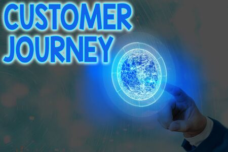 Text sign showing Customer Journey. Business photo showcasing product of interaction between organization and customer