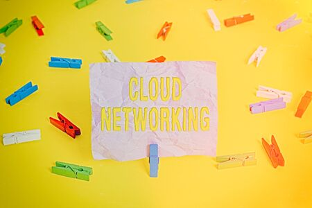 Word writing text Cloud Networking. Business photo showcasing is term describing access of networking resources Colored clothespin papers empty reminder yellow floor background office
