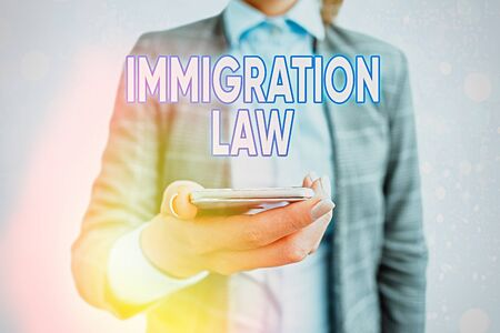 Conceptual hand writing showing Immigration Law. Concept meaning Emigration of a citizen shall be lawful in making of travel Stockfoto