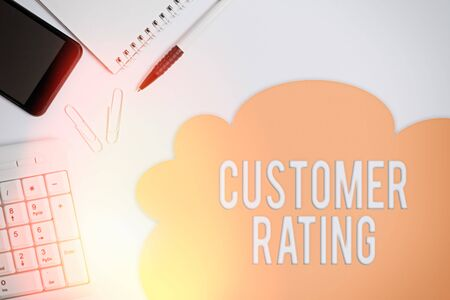 Text sign showing Customer Rating. Business photo showcasing Each point of the customers enhances the experience Business concept with blank white space for advertising and text message