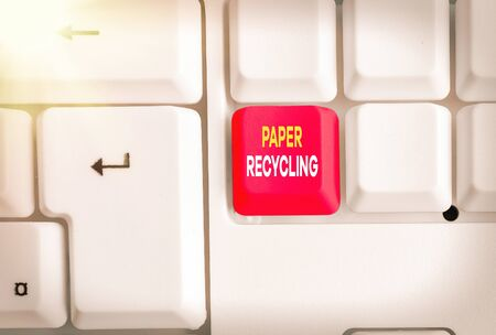 Conceptual hand writing showing Paper Recycling. Concept meaning Using the waste papers in a new way by recycling them