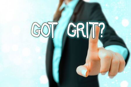Writing note showing Got Grit Question. Business concept for A hardwork with perseverance towards the desired goal Stockfoto