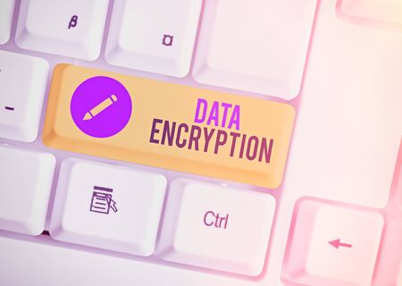 Word writing text Data Encryption. Business photo showcasing Symmetrickey algorithm for the encrypting electronic data Stock Photo