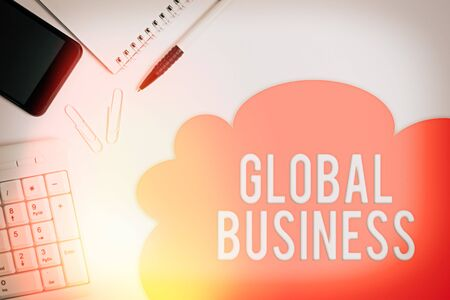 Text sign showing Global Business. Business photo showcasing Trade and business system a company doing across the world Business concept with blank white space for advertising and text message Stock Photo