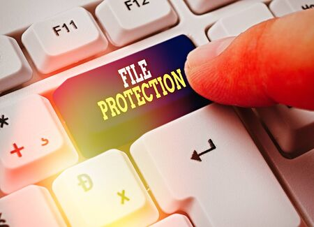 Text sign showing File Protection. Business photo showcasing Preventing accidental erasing of data using storage medium