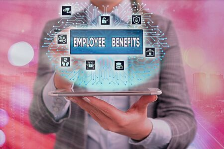 Conceptual hand writing showing Employee Benefits. Concept meaning Indirect and noncash compensation paid to an employee