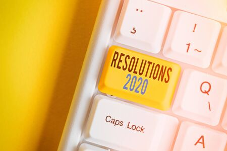 Word writing text Resolutions 2020. Business photo showcasing list of things wishes to be fully done in next year