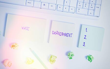 Writing note showing Wage Garnishment. Business concept for Deducting money from compensation ordered by the court Flat lay above blank copy space sticky notes with business concept