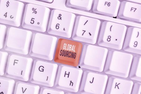 Writing note showing Global Sourcing. Business concept for practice of sourcing from the global market for goods