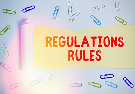 Handwriting text Regulations Rules. Conceptual photo Standard Statement Procedure govern to control a conduct Stok Fotoğraf