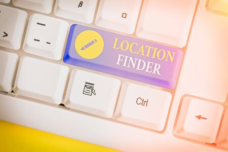 Text sign showing Location Finder. Business photo showcasing A service featured to find the address of a selected place Stock Photo