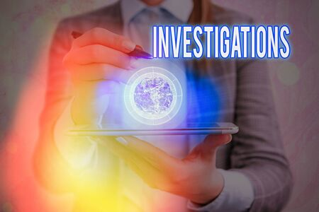 Text sign showing Investigations. Business photo showcasing The formal action or systematic examination about something