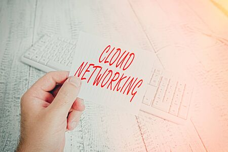 Word writing text Cloud Networking. Business photo showcasing is term describing access of networking resources man holding colorful reminder square shaped paper white keyboard wood floor