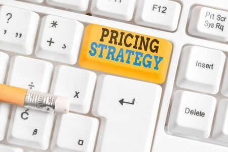 Word writing text Pricing Strategy. Business photo showcasing set maximize profitability for unit sold or market overall 版權商用圖片