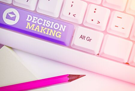 Handwriting text Decision Making. Conceptual photo The act of deciding between two or more possibilities