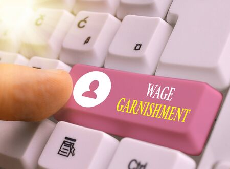 Writing note showing Wage Garnishment. Business concept for Deducting money from compensation ordered by the court Zdjęcie Seryjne