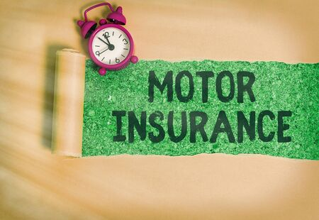 Word writing text Motor Insurance. Business photo showcasing Provides financial compensation to cover any injuries Zdjęcie Seryjne