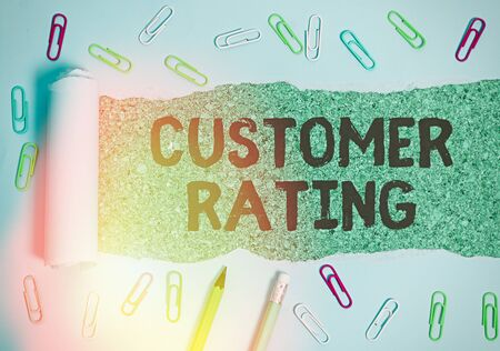 Writing note showing Customer Rating. Business concept for Each point of the customers enhances the experience