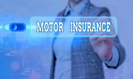 Writing note showing Motor Insurance. Business concept for Provides financial compensation to cover any injuries