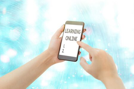 Conceptual hand writing showing Learning Online. Concept meaning Learn something new with the help of internet and technology