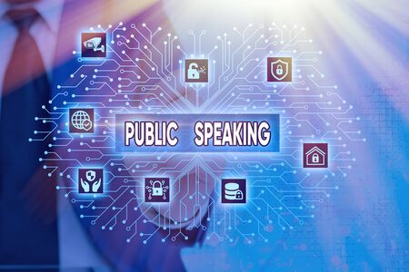 Word writing text Public Speaking. Business photo showcasing talking showing stage in subject Conference Presentation
