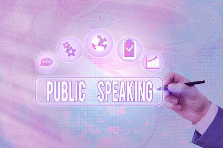 Text sign showing Public Speaking. Business photo text talking showing stage in subject Conference Presentation 免版税图像