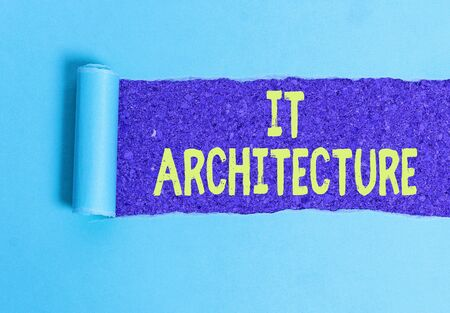 Text sign showing It Architecture. Business photo showcasing Architecture is applied to the process of overall structure