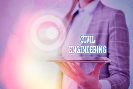 Text sign showing Civil Engineering. Business photo showcasing Planning Design Building of roads bridges public buildings Stock Photo