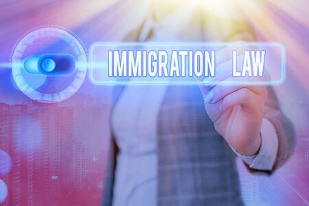 Writing note showing Immigration Law. Business concept for Emigration of a citizen shall be lawful in making of travel