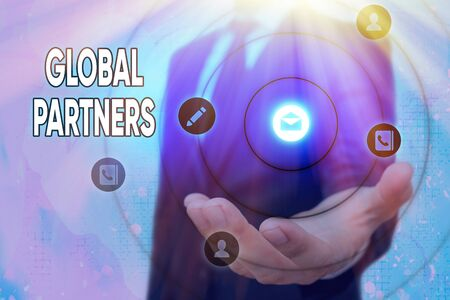 Text sign showing Global Partners. Business photo text Two or more firms from different countries work as a team Stock Photo