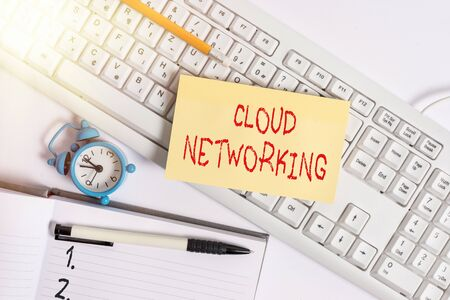 Text sign showing Cloud Networking. Business photo text is term describing access of networking resources Flat lay above empty note paper on the pc keyboard pencils and clock