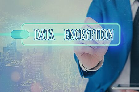 Writing note showing Data Encryption. Business concept for Symmetrickey algorithm for the encrypting electronic data
