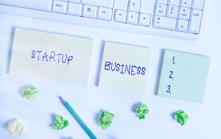 Writing note showing Startup Business. Business concept for Engaging to a New Venture Fresh Trading and Selling Flat lay above blank copy space sticky notes with business concept