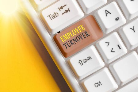 Text sign showing Employee Turnover. Business photo text Number or percentage of workers who leave an organization
