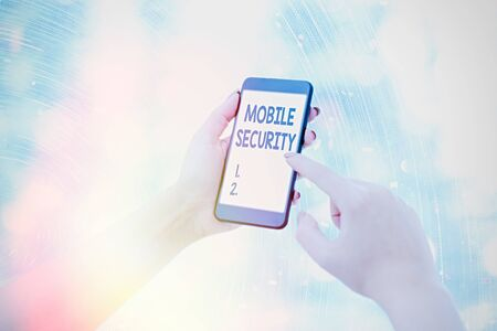 Conceptual hand writing showing Mobile Security. Concept meaning Protection of mobile phone from threats and vulnerabilities