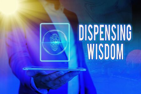 Handwriting text Dispensing Wisdom. Conceptual photo Giving intellectual facts on variety of subjects Banque d'images