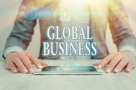 Writing note showing Global Business. Business concept for Trade and business system a company doing across the world