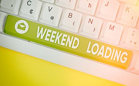 Word writing text Weekend Loading. Business photo showcasing Starting Friday party relax happy time resting Vacations