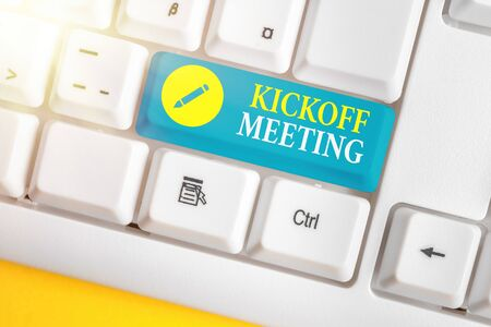 Text sign showing Kickoff Meeting. Business photo showcasing Special discussion on the legalities involved in the project